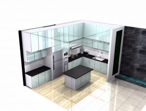 Kitchen set minimalis, kitchen glasstone, kitchen acp